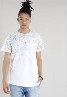 Camiseta Masculina Longa Com Respingos Manga Curta Gola Careca Off White