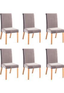 Conjunto Com 6 Cadeiras De Jantar Luiza Cinza E Castanho