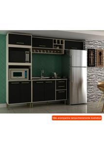 Cozinha Compacta Vitória I 7 Pt 3 Gv Preta E Creme