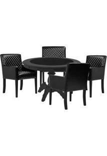 Mesa De Jogos Carteado Montreal Redonda Tampo Reversível Preto Com 4 Cadeiras Liverpool Corino Preto Matelassê - Gran Belo