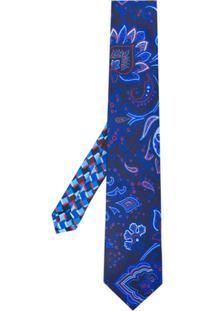 Etro Gravata Com Padronagem Floral - Azul