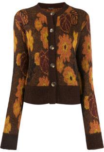 Dodo Bar Or Autumn Leaf Print Cardigan - Marrom