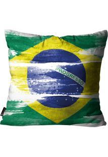 Capa Para Almofada Mdecore Bandeira Do Brasil Colorida 45X45Cm