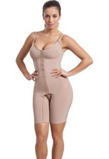 Cinta Body Modelador Compressão Macaquinho Com Perna Esbelt Feminino - Feminino-Bege
