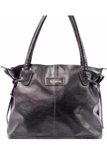 Bolsa Couribi Couro Legítimo Texturizado Shopper - Feminino-Preto