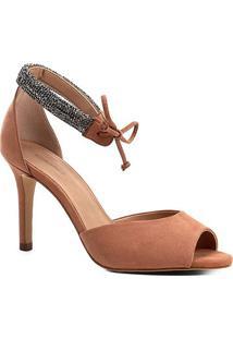 Sandália Shoestock Salto Fino Nobuck Cristal Feminina - Feminino-Nude