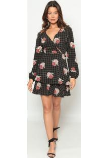 Vestido Texturizado Com Transpasse- Preto & Vermelhooperate