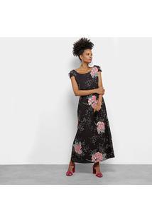 Vestido Mi Midi Evasê Floral - Feminino-Preto+Rosa