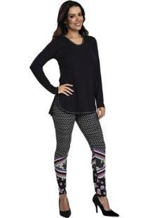 Pijama Recco Viscose Super Micro Feminino - Feminino-Preto