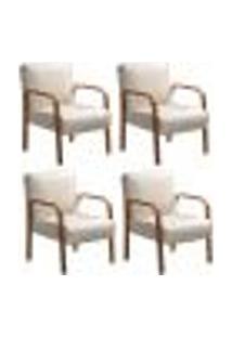 Kit 4 Cadeiras Anita Poltrona Decorativa Braço Madeira Para Escritório, Recepção, Sala De Estar Vários Ambientes - Suede Bege