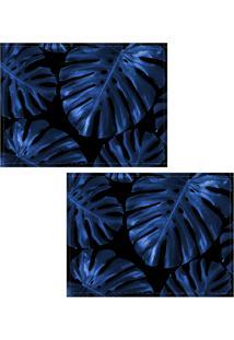 Jogo Americano Colours Creative Photo Decor - Folha Costela De Adão Azul- 2 Peças