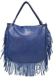 Bolsa Davinci Grande Franjas Azul-Marinho