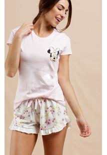 Pijama Feminino Estampa Minnie Manga Curta Disney
