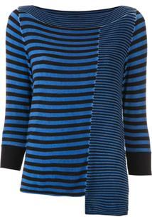 Mara Mac Blusa Assimétrica Listrada - Azul