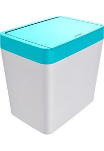 Lixeira Para Pia 5 Litros Smart - Branco/Azul Turquesa - Multistock