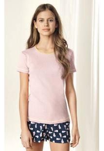 Pijama Feminino Em Malha De Algodão Com Blusa De Ribana