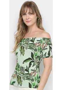 Blusa Colcci Estampada Ombro A Ombro Feminina - Feminino-Verde Claro