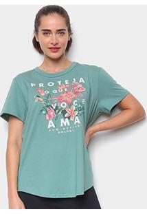 Camiseta Colcci Floral Feminina - Feminino-Verde