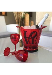 Balde De Gelo Vermelho 2 Tacas Love Preto 110/220V