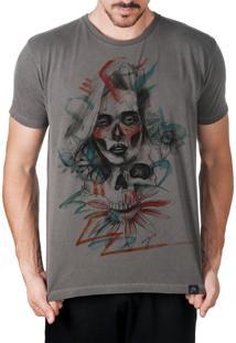 Camiseta Artseries Caveira Mexicana Com Rosto De Mulher Colorida Grafite