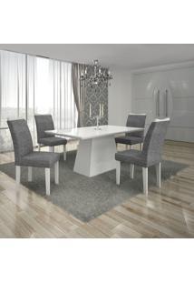 Conjunto Mesa Pampulha 1,20X0,80M Com 4 Cadeiras Vidro Branco Linho Cinza Branco - Leifer