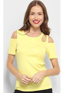 Blusa Top Moda Open Shoulder Feminina - Feminino-Amarelo
