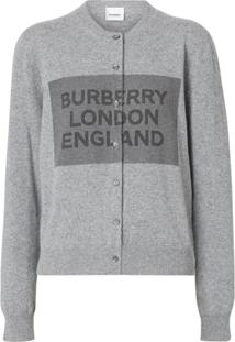 Burberry Cardigan De Cashmer Com Detalhe De Logo - Cinza