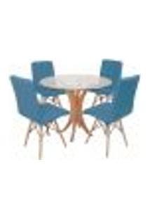 Conjunto Mesa De Jantar Tampo De Vidro 90Cm Com 4 Cadeiras Gomos - Turquesa