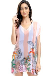 Blusa 101 Resort Wear Tunica Decote V Crepe Fendas Flores Listrado Coral