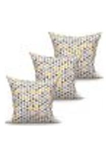 Conjunto De Capas De Almofadas Com 3 Peças Triângulo Amarelo E Cinza 45X45 Cm
