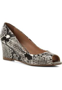 Peep Toe Couro Shoestock Anabela Snake - Feminino-Preto+Branco
