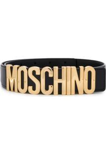 Moschino Cinto De Couro Com Logo - Preto