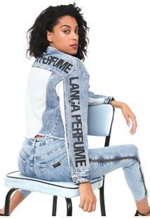 Jaqueta Jeans Cropped Lança Perfume Desfiada Aplicações Azul
