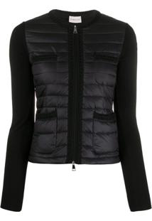 Moncler Knitted Sleeve Puffer Jacket - Preto