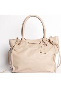 Bolsa Em Couro Com Bag Charm - Nude- 29X31X19Cmmr. Cat