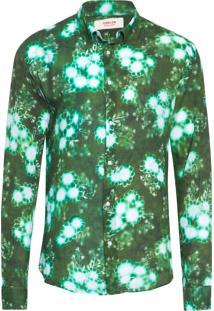 Camisa Masculina Wrinkled Floral Lumini - Verde