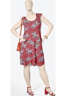 Vestido Vermelho Curto Folhagens