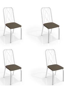 Conjunto Com 4 Cadeiras De Cozinha Viena Cromado E Marrom