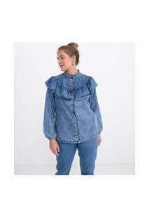 Camisa Jeans Manga Longa Lisa Com Gola Padre E Babados | Blue Steel | Azul | G