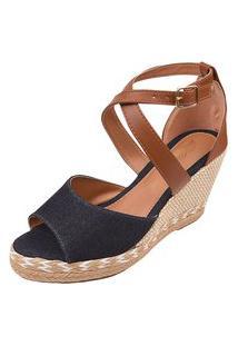 Sandália Uzze Sapatos Anabela Confort Jeans
