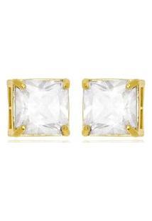Brinco Quadradinho Cristal Di Capri Semi Jóias X Ouro Dourado