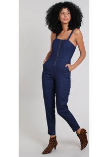 3542ce752 ... Macacão Jeans Feminino Com Bolsos Azul Médio