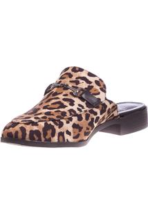 Mule Butique De Sapatos Animal Print Bege