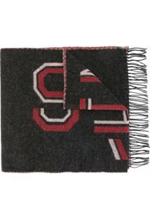 Agnès B. Cachecol Jacques De Lã Com Logo - Preto