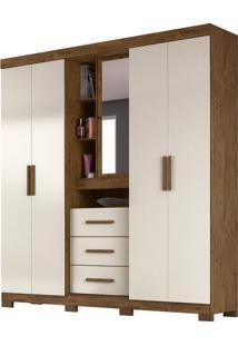Guarda-Roupa Casal Com Espelho Eldorado 5 Pt 3 Gv Baunilha E Castanho Wood