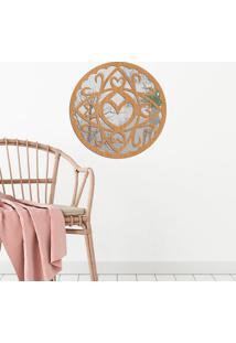 Escultura De Parede Wevans Mandala Coração Abs, Madeira + Espelho Decorativo
