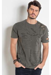 Camiseta Actual Destroyed Cinza Estonada