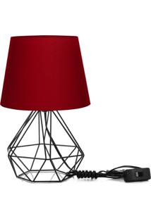 Abajur Diamante Dome Vermelho Com Aramado Preto