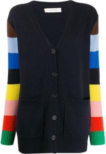 Chinti & Parker Cardigan Listrado Com Abotoamento - Azul