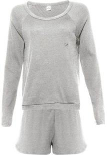 Pijama Feminino Com Blusão E Shorts Em Moletinho